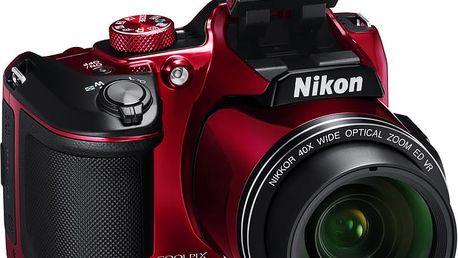 Nikon Coolpix B500, červená - VNA953E1 + Batoh Alpine Pro Nexca v ceně 750 Kč