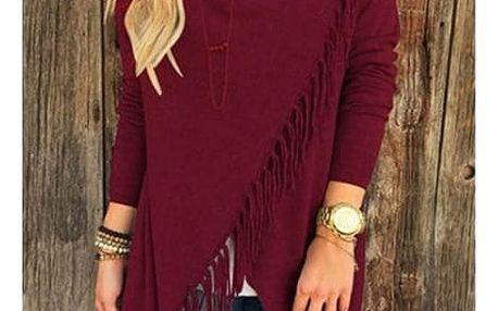 Dámský svetr na způsob ponča - třásně - červená, velikost 5 - dodání do 2 dnů