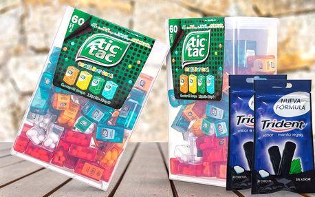 Velké balení bonbonů Tic Tac a 60 žvýkaček Trident