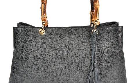 Černá kožená kabelka Carla Ferreri Celestina - doprava zdarma!