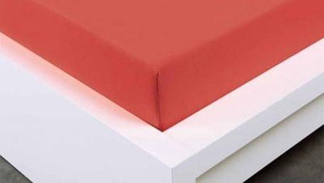 XPOSE ® Jersey prostěradlo Exclusive dvoulůžko - červenooranžová 180x200 cm
