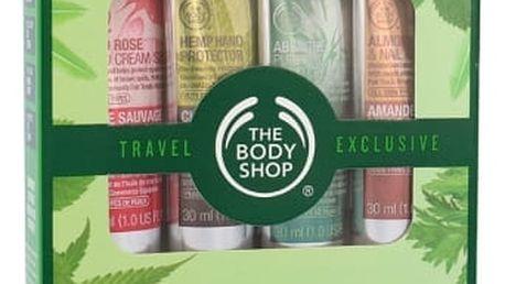 The Body Shop Wild Rose SPF15 dárková kazeta pro ženy krém na ruce Wild Rose 30 ml + ochranný krém na ruce Hemp 30 ml + krém na ruce Absinthe 30 ml + krém na ruce Almond 30 ml