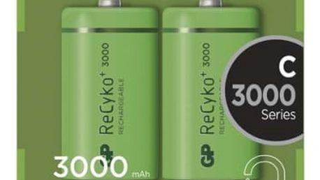 Baterie nabíjecí GP C, HR14, 3000mAh, Ni-MH, krabička 2ks (1033312010) zelená