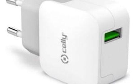 Nabíječka do sítě Celly Turbo, 1x USB 2,4 A (TCUSBTURBO) bílá