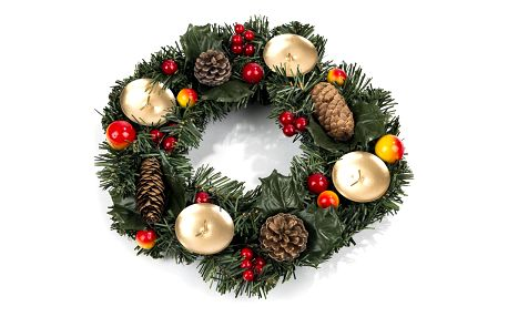 Vánoční věnec se šiškami a bobulemi pr. 30 cm, HTH