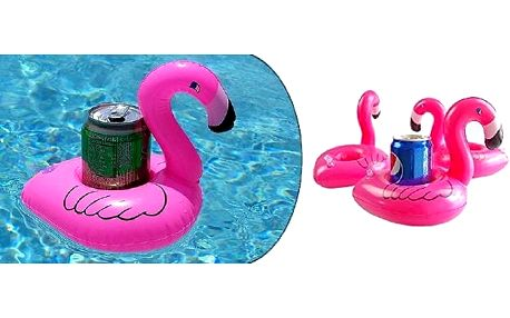 Nafukovací držák na pití ve tvaru plameňáka. Akce 1 + 1 Zdarma. Perfektní doplněk k bazénu, vířivce nebo do vany.
