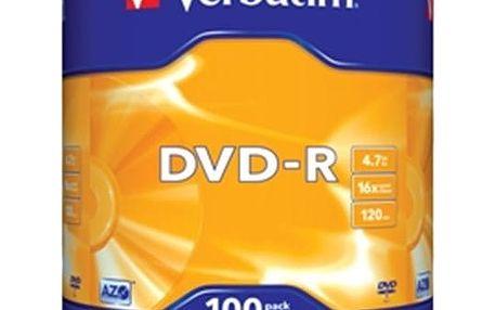 Verbatim DVD-R 16x 4,7GB spindl 100ks - 43549