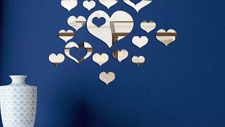Romantická samolepka na zeď - zrcadlová srdíčka