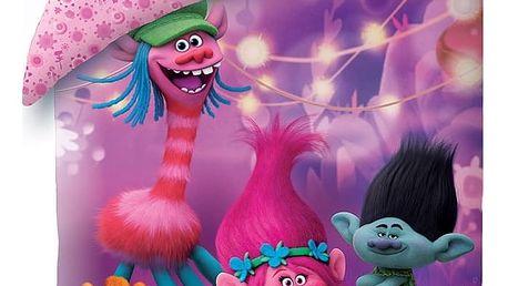 Halantex Dětské bavlněné povlečení Trolls fialová, 140 x 200, 70 x 90 cm