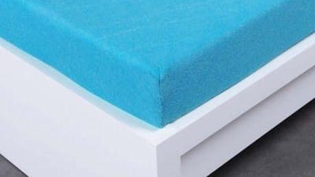 XPOSE ® Bambusové froté prostěradlo dvoulůžko - modrá 200x220 cm