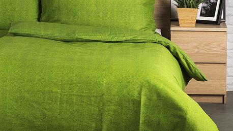 Jahu Bavlněné povlečení Guru UNI zelená, 140 x 200 cm, 70 x 90 cm