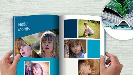 Exkluzivní fotokniha v šité vazbě ve formátu A4 na výšku + tisk 10 velkých fotek jako dárek zdarma