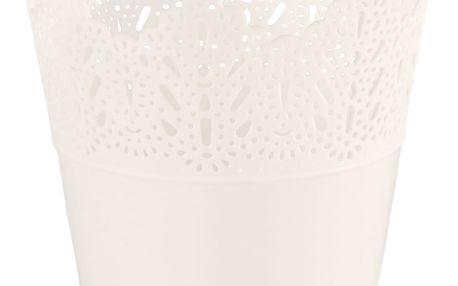 Plastový obal na květináč Krajka 11,5 cm, bílá