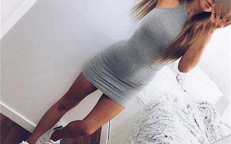Přiléhavé mini šaty - šedá barva - velikost 2 - dodání do 2 dnů
