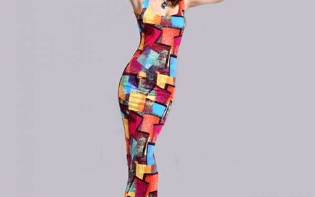 Dámské dlouhé šaty s barevnými vzory - varianta 2, velikost č. 4