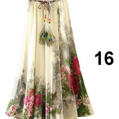 Lehoučká dlouhá sukně na jaro i léto - varianta 16