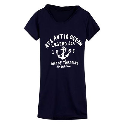 Dámské šaty s kapucí - námořní motivy - modrá, velikost 3