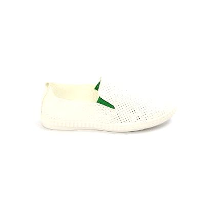 Moderní dámské děrované slip on tenisky bílo-zelené