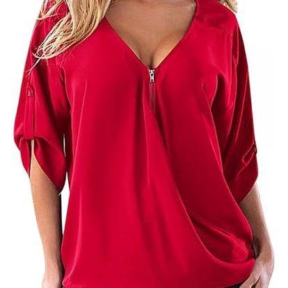 Stylový top se zipem pro ženy - Červená - velikost 2 - dodání do 2 dnů
