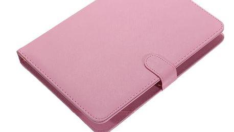 Koženkové pouzdro na tablet s připojitelnou klávesnicí - Růžová