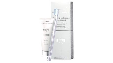 swiss smile Whitening dárková kazeta unisex zubní pasta Whitening 75 ml + zubní kartáček Medium-Soft Transparent 1 ks