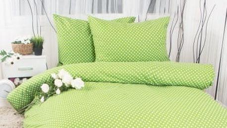 XPOSE ® Francouzské bavlněné povlečení MARKÉTA EXCLUSIVE - zelená 200x220, 70x90