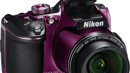 Nikon Coolpix B500, fialová - VNA952E1 + Batoh Alpine Pro Nexca v ceně 750 Kč