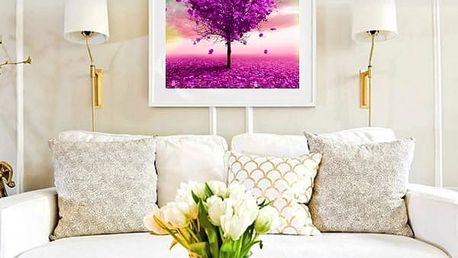 5D obraz s kamínky - 35 x 35 cm - Fialový strom - 3 varianty