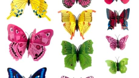 Sada 12 ks dekorativních motýlků - různé varianty