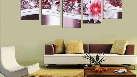 Bezrámové plátno s motivem květin - 5 ks