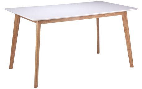 Bílý jídelní stůl s nohami ze dřeva kaučukovníku sømcasa Marie, 140x80cm - doprava zdarma!