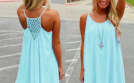 Dámské šaty plážové v pestrých barvách - Světle modrá - 3