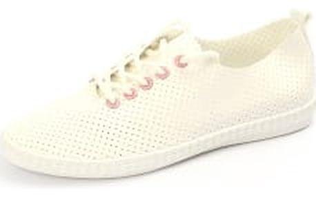 Moderní dásmké děrované tenisky bílo-růžové