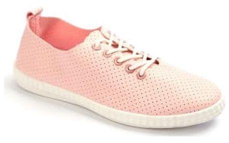 Moderní dámské děrované tenisky růžové