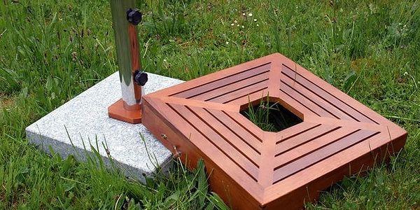 Garthen 1499 Stojan na slunečník - žula/nerezová ocel/dřevěné obložení, 40 kg4