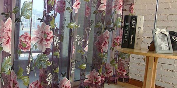 Záclona s květinami - 2 rozměry