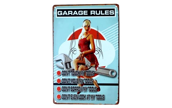 Plechová retro cedule do garáže - 7 variant