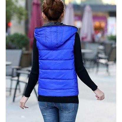 Dámská prošívaná vesta s kapucí - modrá, velikost 2