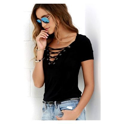 Dámské tričko s V výstřihem s tkaničkou - černá - 4 - dodání do 2 dnů