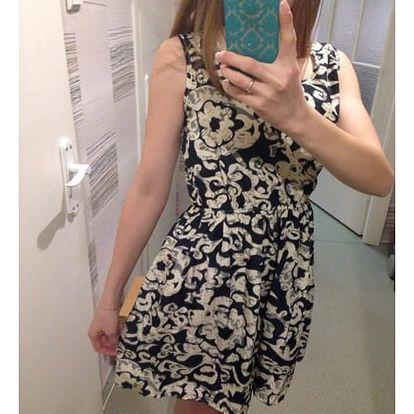 Dámské šaty s elastickým pasem a květinovým potiskem - varianta 6, velikost 6 - dodání do 2 dnů