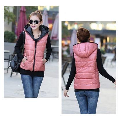 Dámská prošívaná vesta s kapucí - růžová, velikost 3 - dodání do 2 dnů