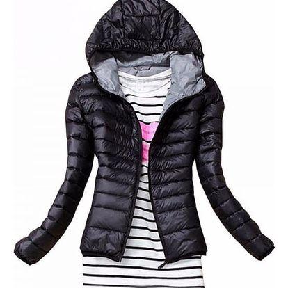 Dámská podzimní prošívaná bunda s kapucí - černá, velikost 3 - dodání do 2 dnů