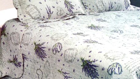 Přehoz na postel Levandule, 230 x 250 cm, 2x 50 x 70 cm, 230 x 250 cm