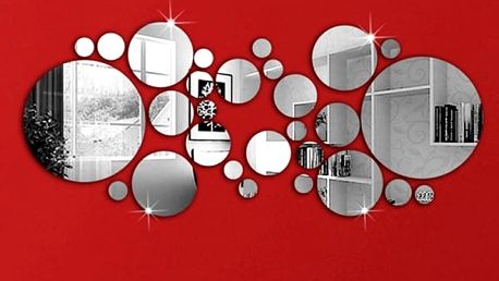 Kruhová zrcadlová dekorace na zeď