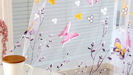 Záclonka s motýlky - Růžová