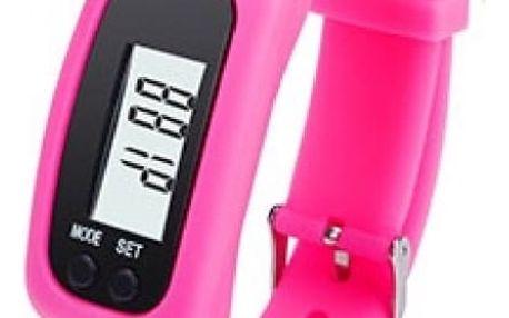 Silikonové hodinky s krokoměrem - tmavě růžová