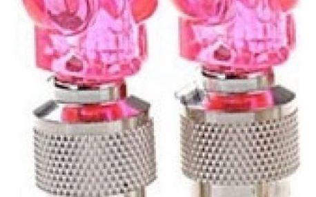LED svítící čepička na ventilek - lebka - růžová - dodání do 2 dnů