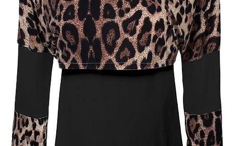 Dámské vrstvené triko s leopardím vzorem - černá, velikost 3 - dodání do 2 dnů