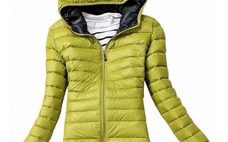 Dámská podzimní prošívaná bunda s kapucí - zelená, velikost 4 - dodání do 2 dnů
