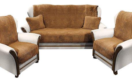 4Home Přehozy na sedací soupravu Beránek tmavě hnědá, 150 x 200 cm, 2 ks 65 x 150 cm